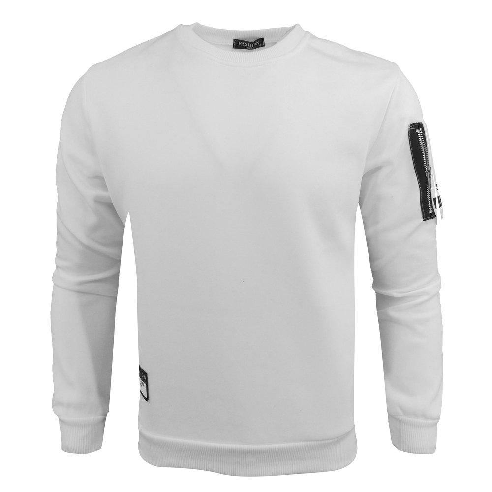 Spring and Autumn Men'S Round Neck Long Sleeve Printed Tide Casual Fashion sweatshirt - WHITE L