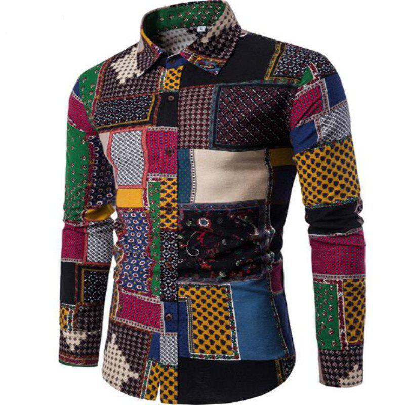 New Spring Fashion Personality Colorful Men's Long Sleeve Shirt - RED XL