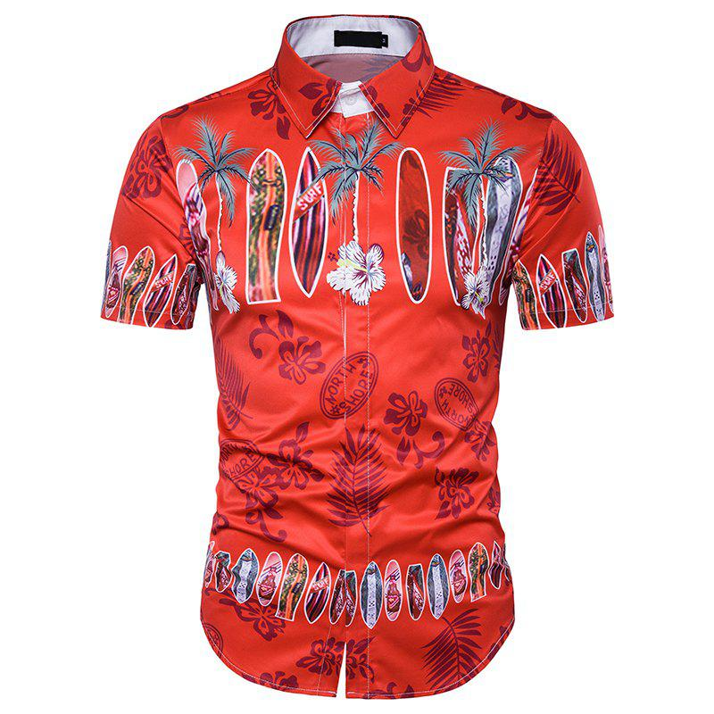 New Men'S Beach Wind 3D Short Sleeved Casual Shirt - RED L