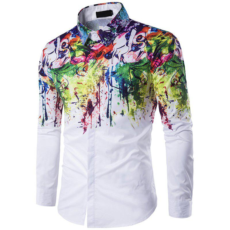 New Mens Long Sleeve Shirt Lapel Flowers Splashed Ink Paint C216 led driver transformer waterproof switching power supply adapter ac170 260v to dc5v 30w waterproof outdoor ip67 led strip lamp