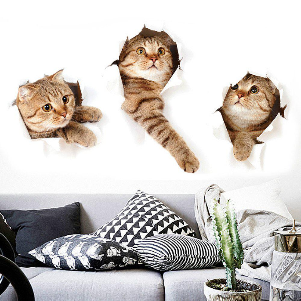 3D Cartoon Animal Kitten Wall Stickers Kids Room Decor Diy Art Decal Wallpaper Removable Refrigerator Sticker 3d bue silver strip metal mosaic tiles kitchen backsplash wallpaper border line diy sticker aluminum home decor material lsala09