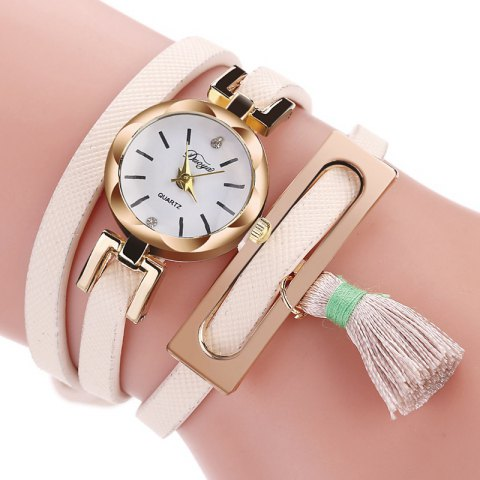 DUOYA D179 Ladies Fringed Analog Quartz Bracelet Wrist Watches - PINK