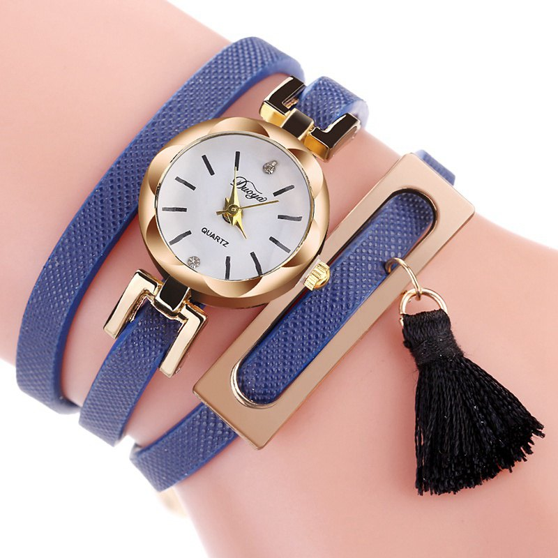 DUOYA D179 Ladies Fringed Analog Quartz Bracelet Wrist Watches - BLUE