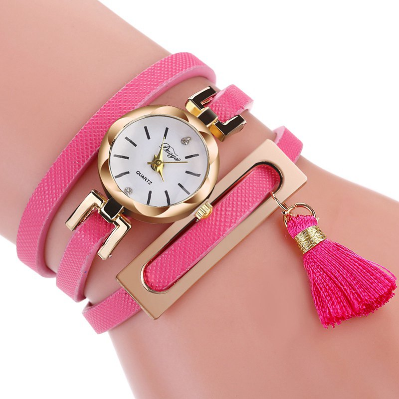 DUOYA D179 Ladies Fringed Analog Quartz Bracelet Wrist Watches - ROSE RED