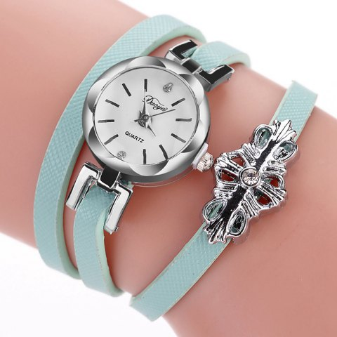 DUOYA D180 Ladies Pendant Bracelet Watch Solid Color Belt PU Watch - SKY BLUE