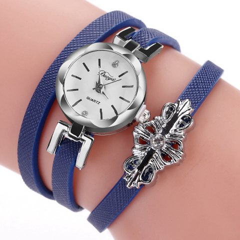 DUOYA D180 Ladies Pendant Bracelet Watch Solid Color Belt PU Watch - BLUE