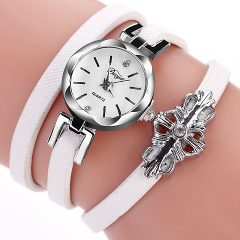 DUOYA D180 Ladies Pendant Bracelet Watch Solid Color Belt PU Watch - WHITE