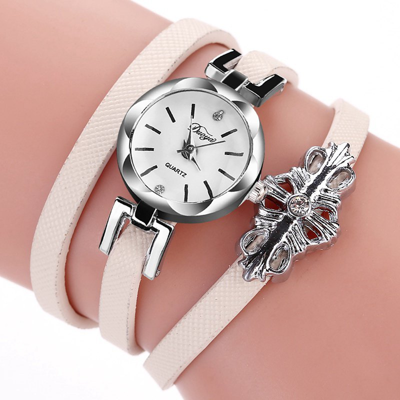 DUOYA D180 Ladies Pendant Bracelet Watch Solid Color Belt PU Watch - BEIGE