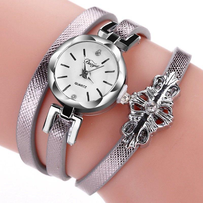 DUOYA D180 Ladies Pendant Bracelet Watch Solid Color Belt PU Watch - GREY
