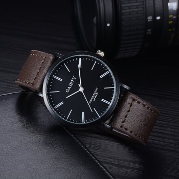 GAIETY G441 Men's Leather Fashion Watch - BROWN