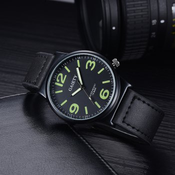 GAIETY G442 Men's Business Leather Watch - BLACK