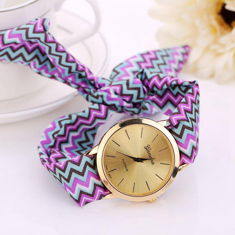DUOYA D024 Women's Fabric Band Vintage Fashion Dress Watch - PURPLE