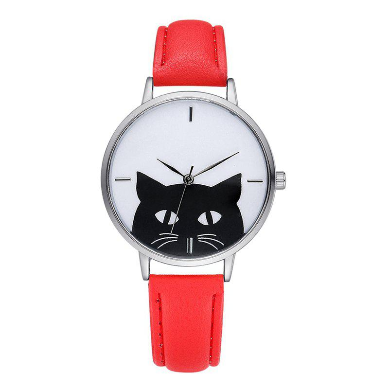 GAIETY G066 ladies leather fashion watch - RED