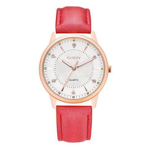 GAIETY G047 Women's Leather Fashion Watch - RED