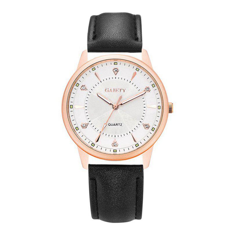 GAIETY G047 Women's Leather Fashion Watch - BLACK