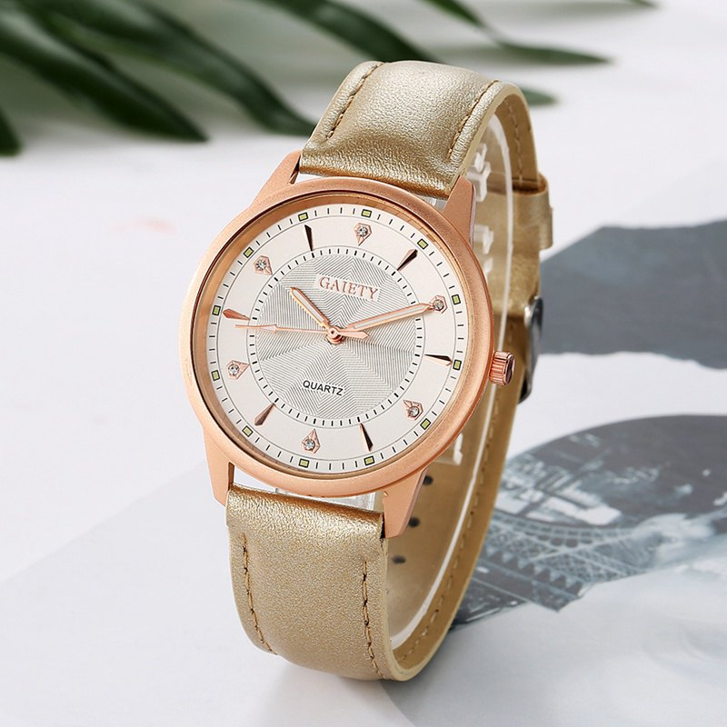 GAIETY G047 Women's Leather Fashion Watch - GOLD