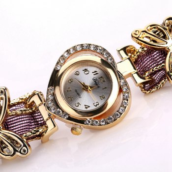 DUOYA DY110 Ladies Watch Fashion Luxury Gold Heart Dial Ribbon Watches Women - PURPLE