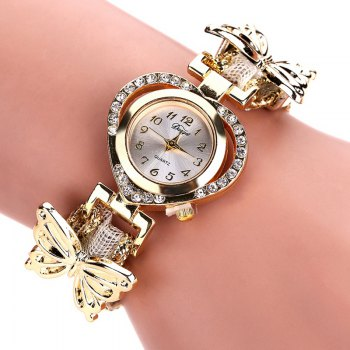 DUOYA DY110 Ladies Watch Fashion Luxury Gold Heart Dial Ribbon Watches Women - WHITE WHITE