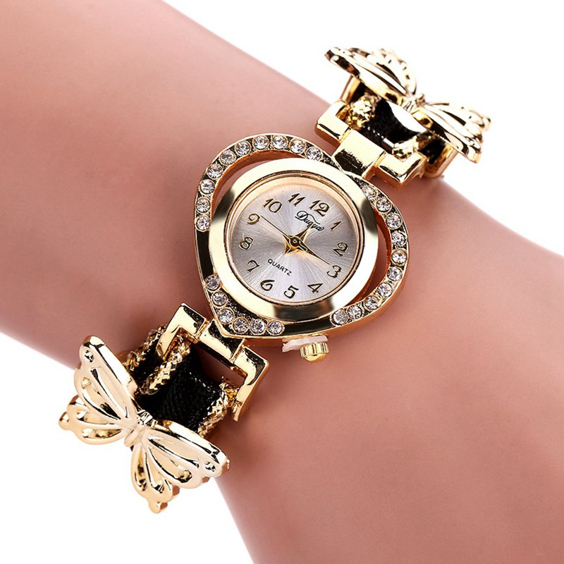 DUOYA DY110 Ladies Watch Fashion Luxury Gold Heart Dial Ribbon Watches Women - BLACK