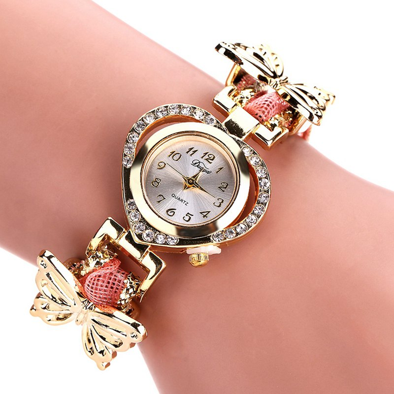 DUOYA DY110 Ladies Watch Fashion Luxury Gold Heart Dial Ribbon Watches Women - PINK