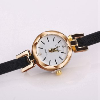 DUOYA D205 Women Circle Leather Bracelet Quartz Watch - BLACK