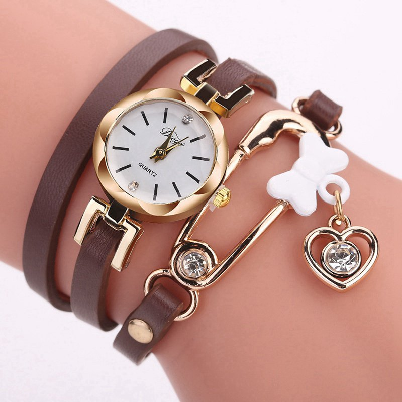 DUOYA D205 Women Circle Leather Bracelet Quartz Watch - BROWN