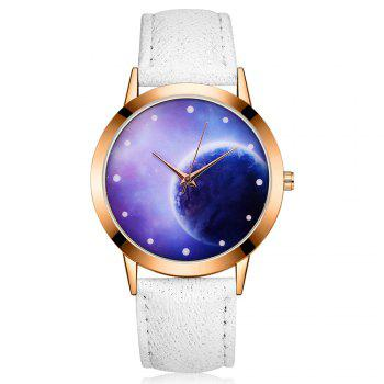 GAIETY Women's Space Face Leather Band Quartz Watch G387 - WHITE WHITE