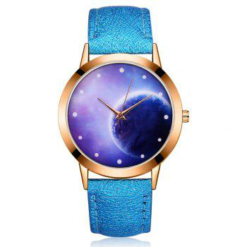 GAIETY Women's Space Face Leather Band Quartz Watch G387 - BLUE BLUE