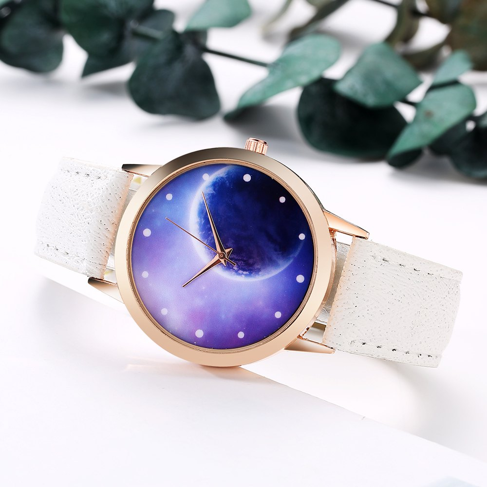 GAIETY Women's Space Face Leather Band Quartz Watch G387 - WHITE