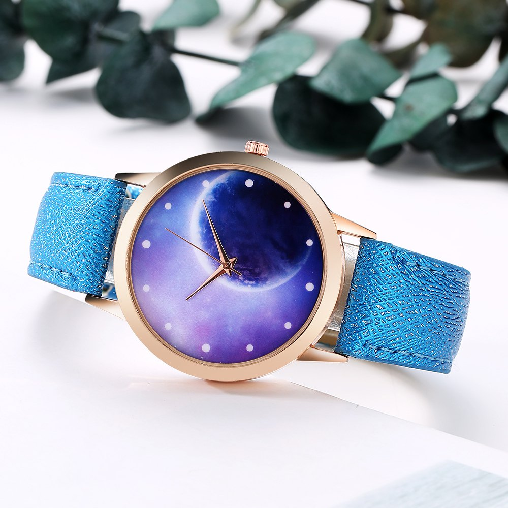 GAIETY Women's Space Face Leather Band Quartz Watch G387 - BLUE