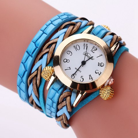 DUOYA D124 Fashion Ladies Round Watch Braided Beads Jewelry Watches - SKY BLUE