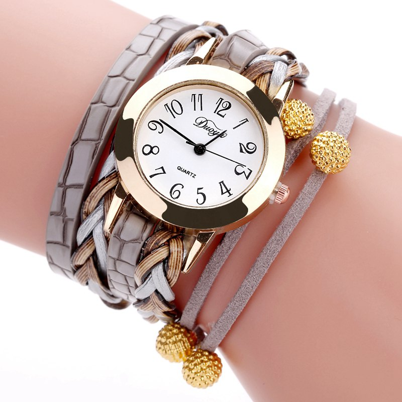DUOYA D124 Fashion Ladies Round Watch Braided Beads Jewelry Watches - GREY
