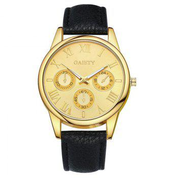 GAIETY G114 New Arrive Fashion Casual Leather Strap Watch Women - BLACK BLACK
