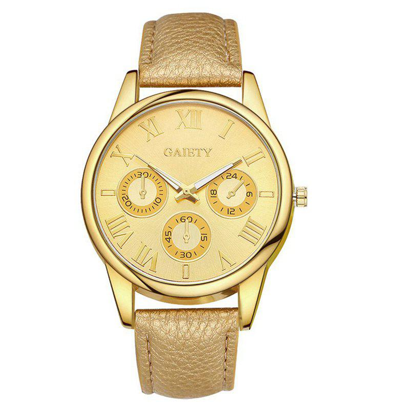 GAIETY G114 New Arrive Fashion Casual Leather Strap Watch Women - GOLD