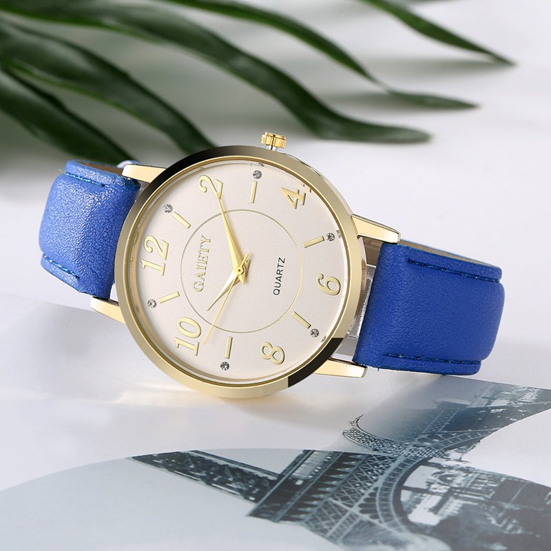 GAIETY G063 Ladies Casual Leather Watch - BLUE