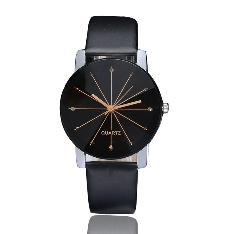 DUOYA XR1565-S Women Simple Leather Band Analog Quartz Wrist Watch - BLACK