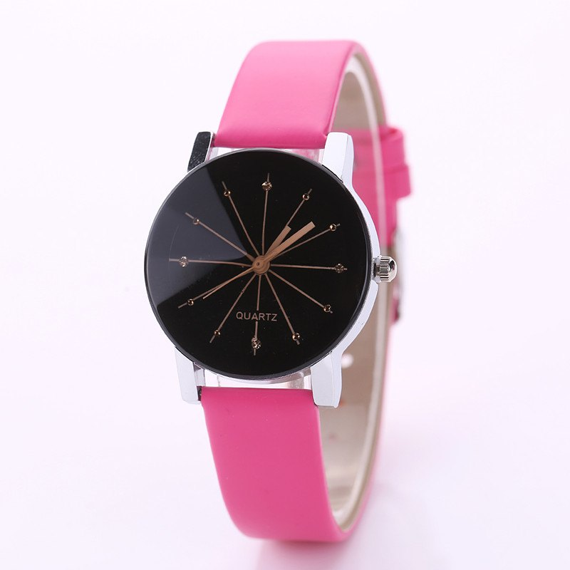 DUOYA XR1565-S Women Simple Leather Band Analog Quartz Wrist Watch - ROSE RED