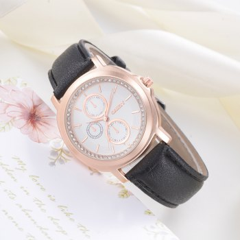 GAIETY G452 Ladies Leather Watches - BLACK