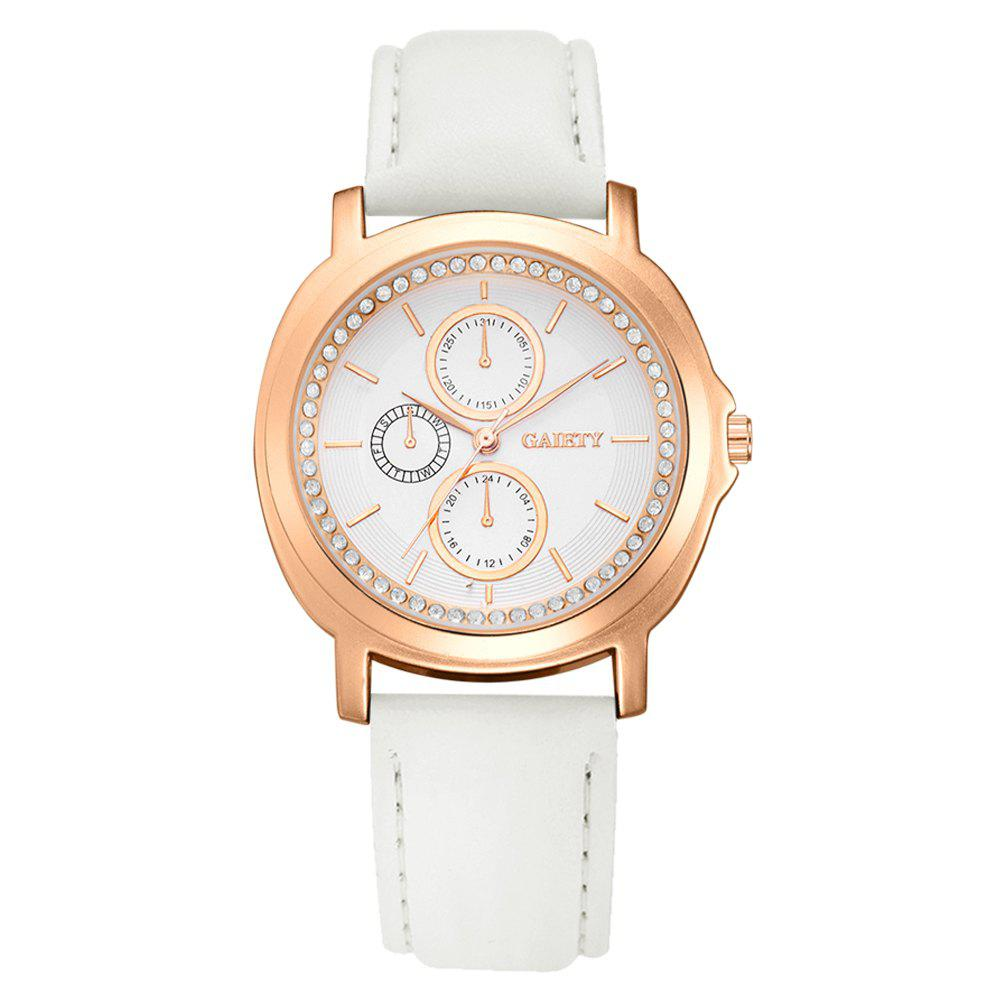 GAIETY G452 Ladies Leather Watches - WHITE