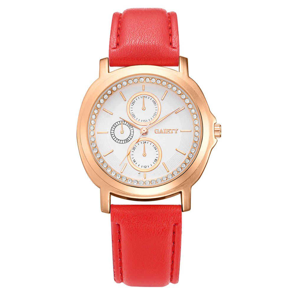 GAIETY G452 Ladies Leather Watches - RED
