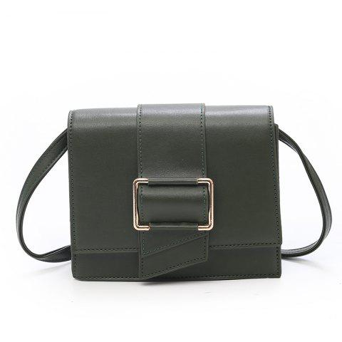 Simple Lock Small Square Bag Shoulder Messenger Bag - GREEN