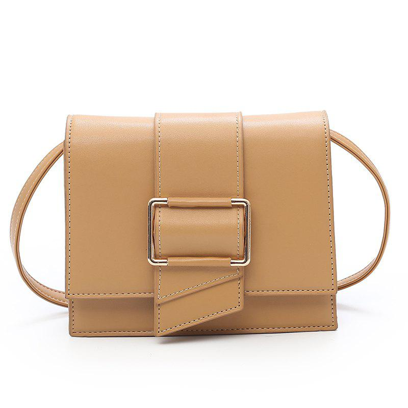 Simple Lock Small Square Bag Shoulder Messenger Bag - KHAKI