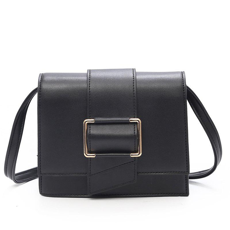 Simple Lock Small Square Bag Shoulder Messenger Bag - BLACK