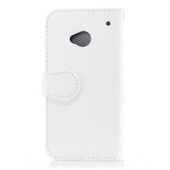 Wallet Case for HTC M7 Flip Cover Unicorn Pattern Bookstyle Folio PU Leather Cell Phone Holster Stand Function - WHITE