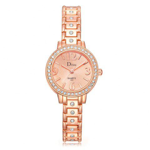 Disu Fashion Ladies Dress Quartz Alloy Bracelet Wrist Rose Gold Watch - ROSE GOLD