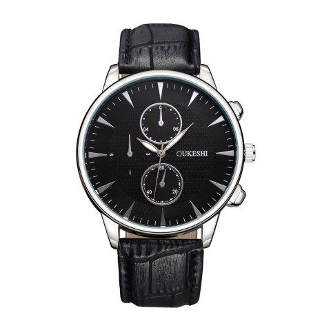 OUKESHI Luxury Men Business Leather Wristwatches - BLACK
