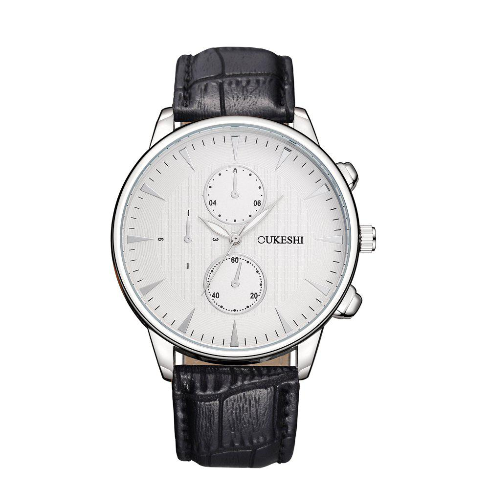 OUKESHI Luxury Men Business Leather Wristwatches - WHITE/BLACK