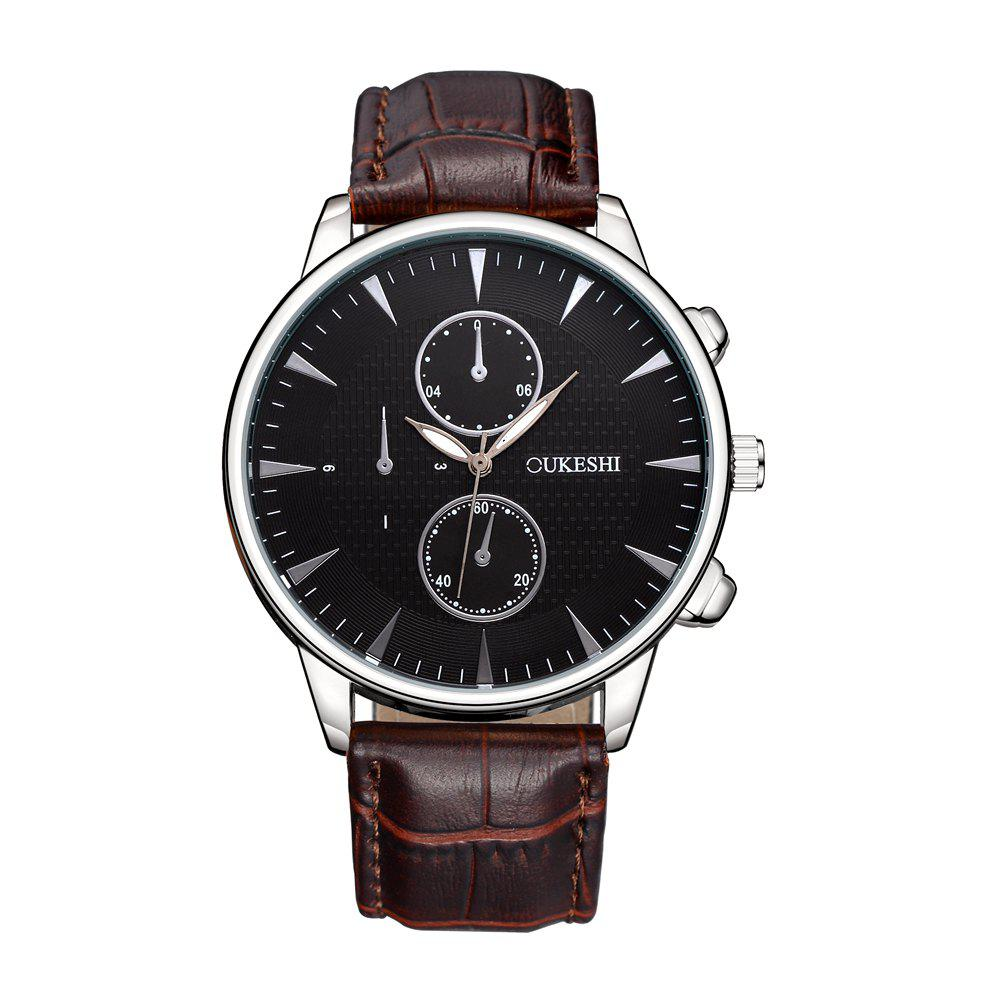 OUKESHI Luxury Men Business Leather Wristwatches - BROWN BAND BLACK DIAL