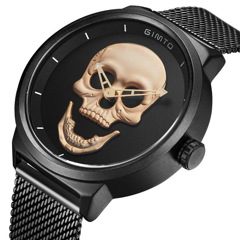 GIMTO Cool Skull Men Watch Luxury Brand Quartz Creative Clock Steel Black Military Female Male Wrist Watches relogio mas карта оплаты xbox 500 рублей [xbox цифровая версия] цифровая версия