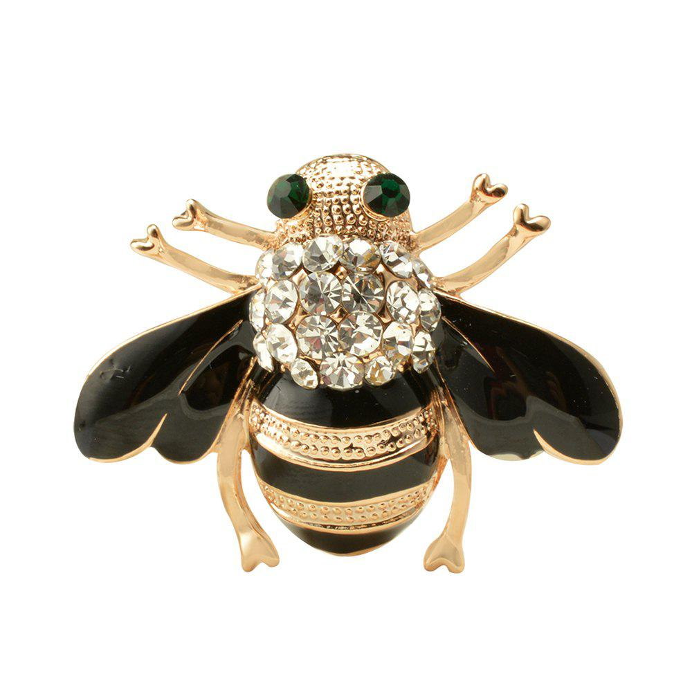 Alloy Metal Special Bee Brooches Enamel Broches Gold Color Champagne Crystal Hijab Pins enamel sector pattern brooches with red tassel
